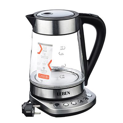 291-074 Чайник электрический 1,7 л LEBEN, 2200 Вт, подсветка, сталь/стекло