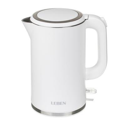 291-076 LEBEN Чайник электрический 1,8л, 2200Вт, скрытый нагр.элемент, двойное покрытие , 2 цвета