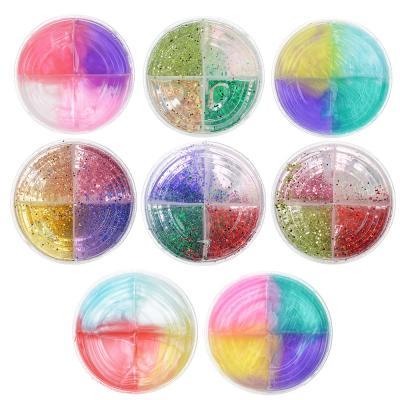 218-037 Слайм, в наборе 4 цвета, 8,5х4см, полимер, 2 дизайна, 6-8 цветов