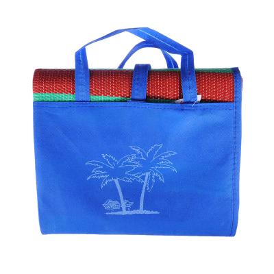 119-042 Коврик пляжный, 120х180, с ручками для переноски, полоса, полипропилен, 3 цвета