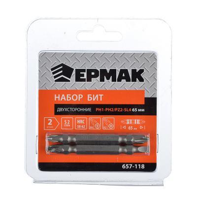 657-118 ЕРМАК Набор бит 2шт, двухсторонние 65мм (PH1-PH2 и PZ2-SL4)