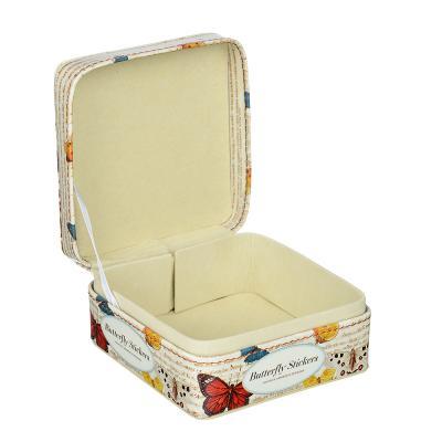 504-595 Шкатулка для украшений, МДФ, картон, полиэстер, 10,2х10,2х6 см, арт HY19089