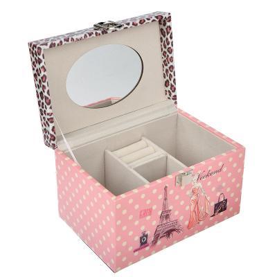 504-598 Шкатулка для украшений с зеркалом, МДФ, картон, полиэстер, 18х12,5х11,5 см, арт 124HY149