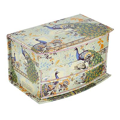 504-599 Шкатулка для украшений с зеркалом, МДФ, картон, полиэстер, 19х12,5х11 см, арт HY60491-1