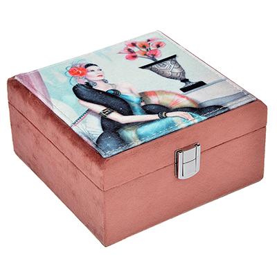 504-601 Шкатулка для украшений, МДФ, картон, полиэстер, 17х18х9 см, арт 124HY115