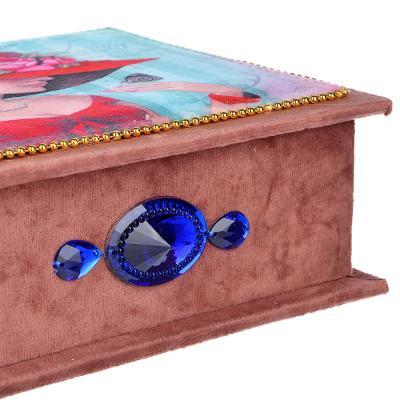 504-602 Шкатулка для украшений, МДФ, картон, полиэстер, 23х16,5х11,5 см, арт 124HY143
