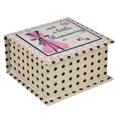 504-605 Шкатулка для украшений, МДФ, картон, полиэстер, 14,5х14х6,5 см, арт 124HY104