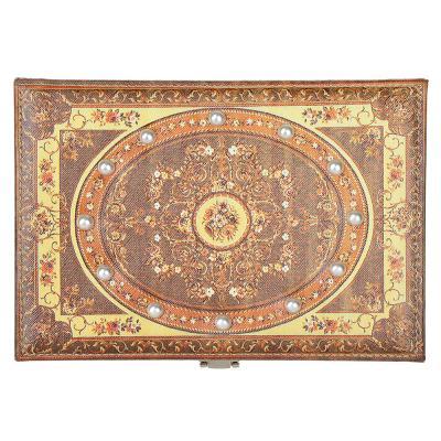 504-607 Шкатулка для украшений с зеркалом, МДФ, картон, полиэстер, 23х16,5х10 см, арт 122HY045