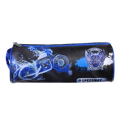 238-084 Спидвей Пенал мягкий круглый, 21х7х7см, ПВХ 0,8мм, с ручкой, с антисминаемым вкладышем
