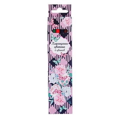 228-074 Карандаши Волшебные цветы 6 цветов, шестигранные заточенные
