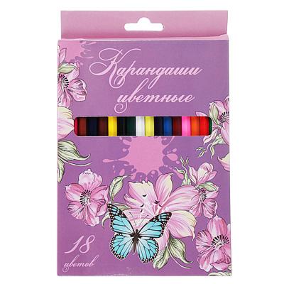 228-086 Карандаши Волшебный полет 18 цветов, шестигранные заточенные