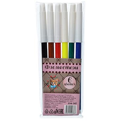 256-147 Гламур кэтс Фломастеры, 6 цветов, с белым колпачком, в ПВХ упаковке