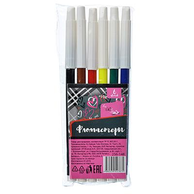 256-148 Фломастеры Хертс коллекшн с белым колпачком, 6 цветов
