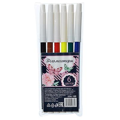 256-149 Волшебные цветы Фломастеры, 6 цветов, с белым колпачком, в ПВХ упаковке