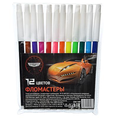 256-160 Фломастеры Концепт кар с белым колпачком, 12 цветов