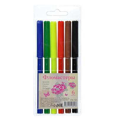 256-162 Фломастеры Джуниор гарден  с цветным вентилируемым колпачком, 6 цветов