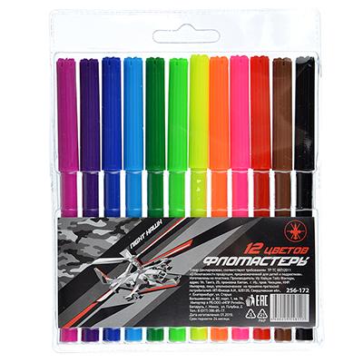 256-172 Фломастеры Найт хоук с цветным вентилируемым колпачком, 12 цветов