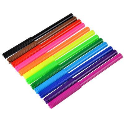 256-176 Суперлига Фломастеры, 12 цветов, с цветным вентилируемым колпачком, в ПВХ пенале с подвесом