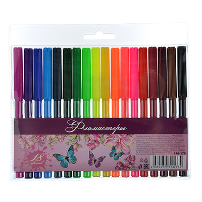256-178 Волшебный полет Фломастеры, 18 цветов, с цветным вентилируемым колпачком, в ПВХ пенале с подвесом