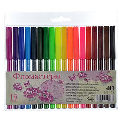 256-179 Фломастеры Джуниор гарден с цветным вентилируемым колпачком, 18 цветов