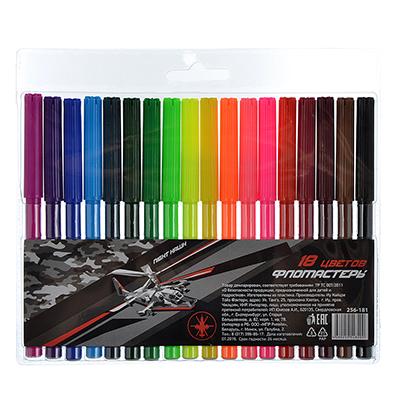 256-181 Найт хоук Фломастеры, 18 цветов, с цветным вентилируемым колпачком, в ПВХ пенале с подвесом