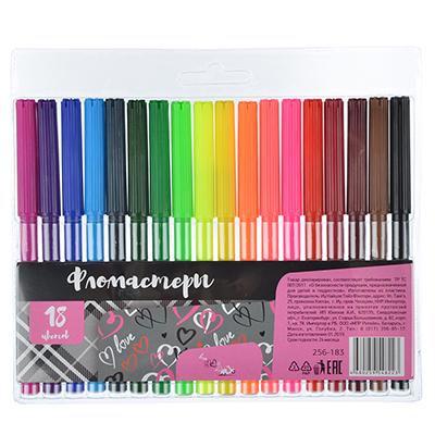 256-183 Фломастеры Хертс коллекшн с цветным вентилируемым колпачком, 18 цветов