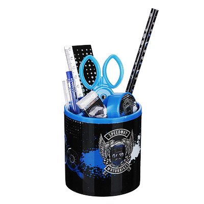 234-012 Спидвей Набор канцелярский 7 пр.(линейка, карандаш, ручка, точилка, ластик, ножн.в подст.-стакане)