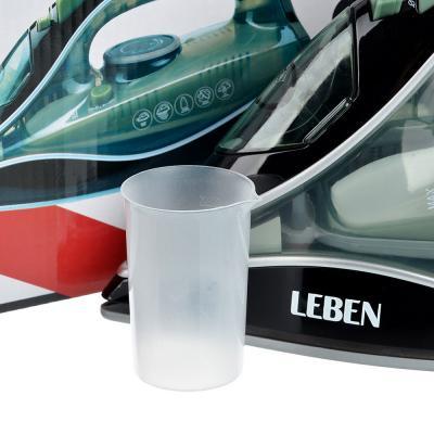 249-026 Утюг LEBEN 2000 Вт, подошва керамика, паровой удар, самоочистка, зеленый