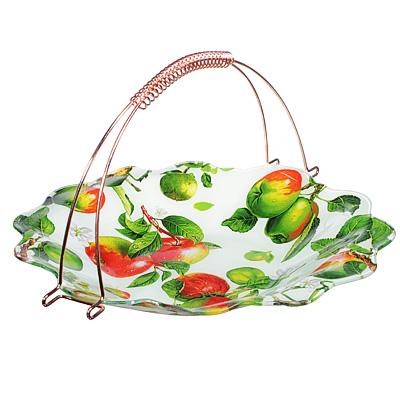 830-543 Яблоки  Ваза для фруктов, стекло, 36х31см