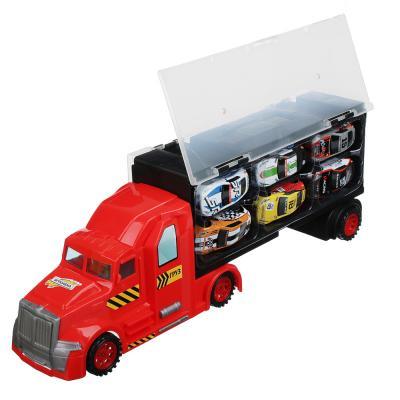 292-155 ИГРОЛЕНД Фура с машинками и стартовой платформой ,пластик металл, 39,3х13,5х8,5см