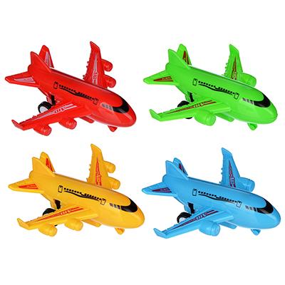 292-163 Игрушка инерционная в виде Самолета, пластик, 9,2х8,5х2см, 4 цвета