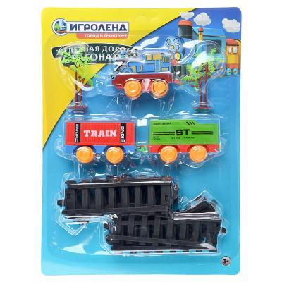 276-079 ИГРОЛЕНД Поезд 2 вагона с рельсами,движение,2хАА ,пластик, 38,6x28,6x4,5см