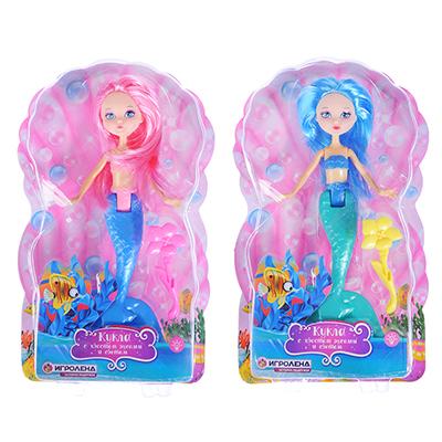267-803 ИГРОЛЕНД Кукла с хвостом русалки, свет, пластик, полиэстер, 15x24х5см, 2 дизайна