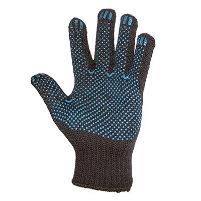 Перчатки вязаные п/шерстяные, с ПВХ нанесением точка, 7,5 класс, черные