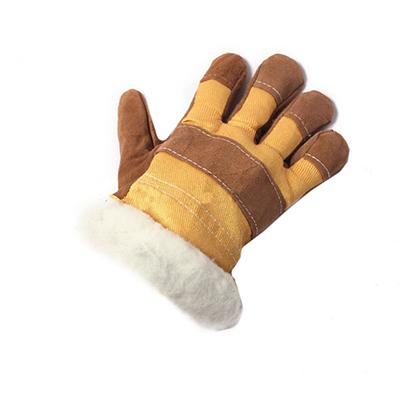 Перчатки спилковые комбинированные, серия «Ангара», утепленные искусственным мехом