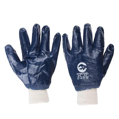 Перчатки МБС нитриловые, синие, полный облив