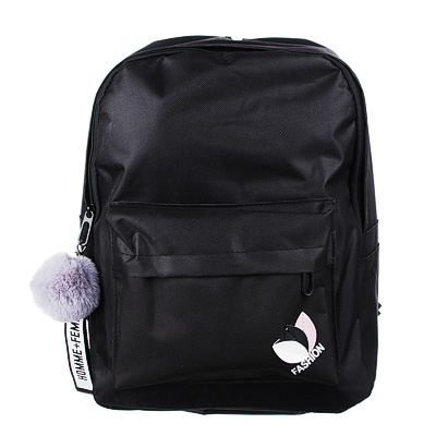 254-198 Рюкзак 40x30x20 см с брелком, 1 отделение, уплотненные лямки, черный
