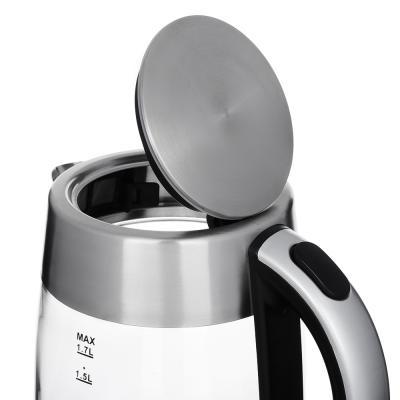291-079 Чайник электрический 1,7 л LEBEN, 2000 Вт, стекло/нержавейка, на базе с поддержанием температуры