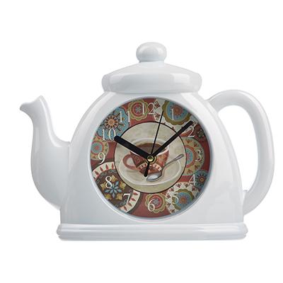581-781 Часы настенные в форме чайника, 1хАА, 5,5х21 см, белые