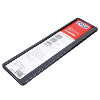 776-061 NEW GALAXY Рамка автомобильного номера, пластик, теснение карбон темный, 52,7х13,3 см