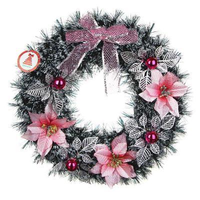 377-376 Новогодний венок СНОУ БУМ  38 см, голубые цветы, ПВХ