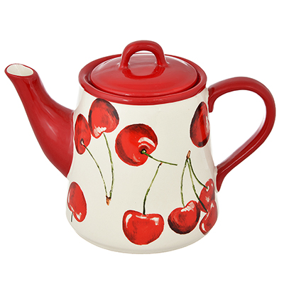 824-076 MILLIMI Вишни Чайник 20,5Х14,5Х14,5 см 730мл, керамика