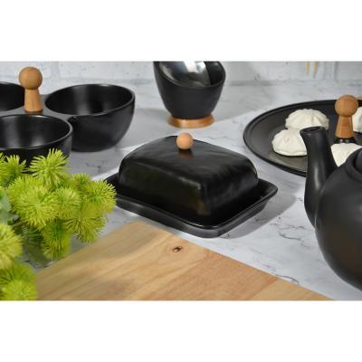 "824-094 Маслёнка 17,5х13х8 см, матовая керамика/бамбук, MILLIMI ""Черный бархат"""