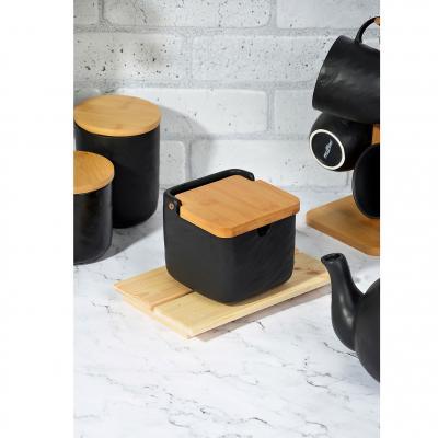 "824-097 Банка для соли, матовая керамика/бамбук, MILLIMI ""Черный бархат"""