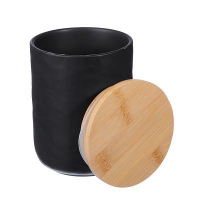 "824-098 Банка для хранения 10,5х10,5х13,5 см, матовая керамика/бамбук, MILLIMI ""Черный бархат"""