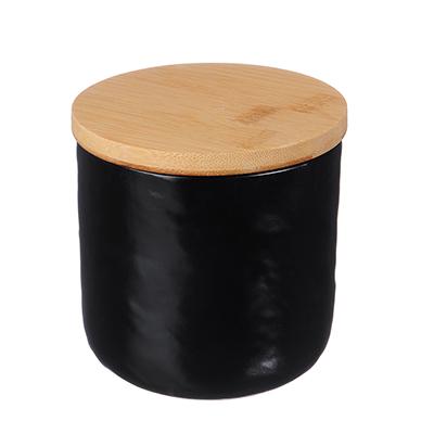 """824-099 Банка для сыпучих продуктов 10,5х10,5х10,5 см, матовая керамика/бамбук, MILLIMI """"Черный бархат"""""""