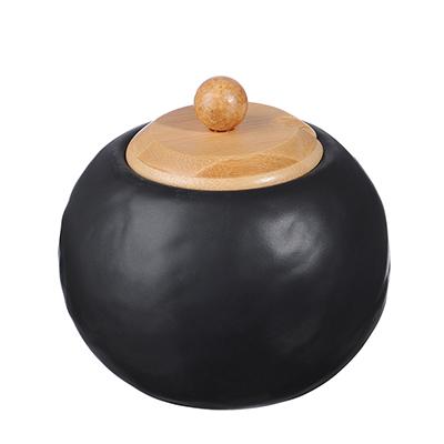 "824-100 Сахарница 500 мл, матовая керамика/бамбук, MILLIMI ""Черный бархат """