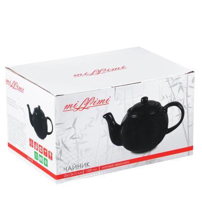 """824-102 Чайник заварочный 1200 мл, матовая керамика, MILLIMI """"Черный бархат"""""""
