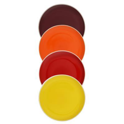 """824-104 Набор тарелок 4 шт, d,18,8 см, керамика, MILLIMI """"Радуга"""""""