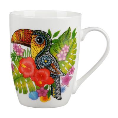 806-139 Кружка 350 мл, MILLIMI Тропические птицы, керамика, 4 дизайна